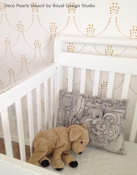 Painting Nursery Walls with Pattern - Metallic Art Deco Allover Wall Stencils - Deco Pearls Damask Wall Stencils - Royal Design Studio