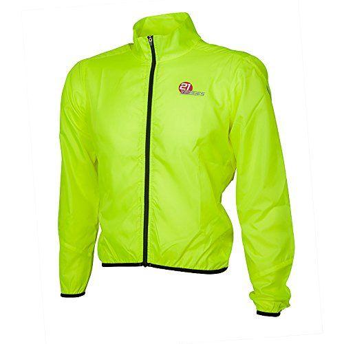 21 Virages Unpadded Thermal - Chubasquero de ciclismo para hombre, color amarillo, talla 2XL