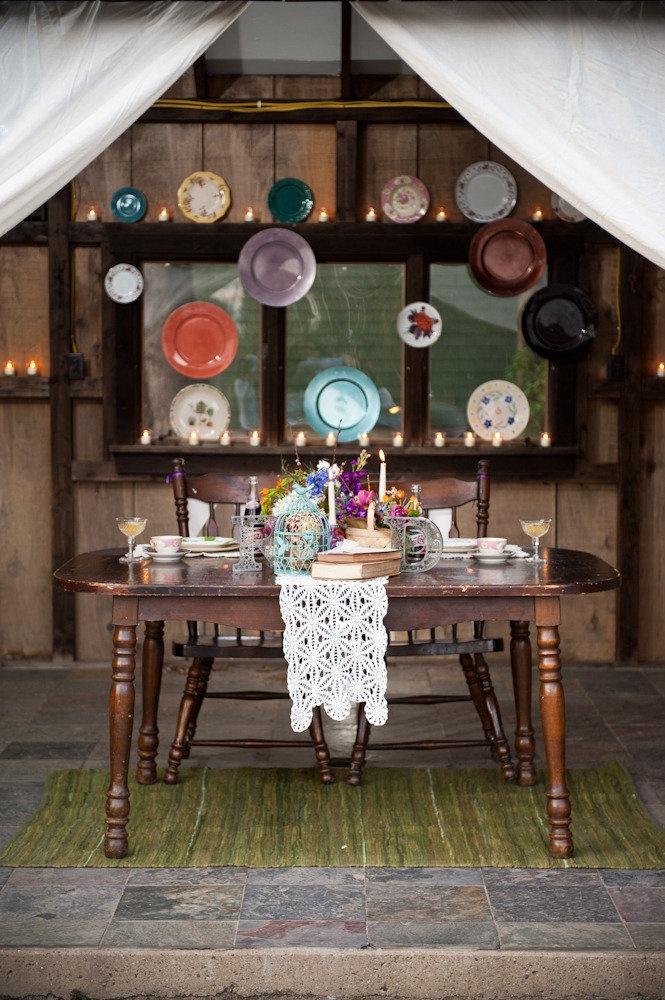 Vintage china sweetheart table backdrop.