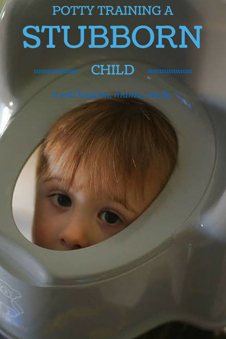 Are you trying to potty train a stubborn child? It might seem like your child will go to Kindergarten in diapers but it will happen, mama. Really.