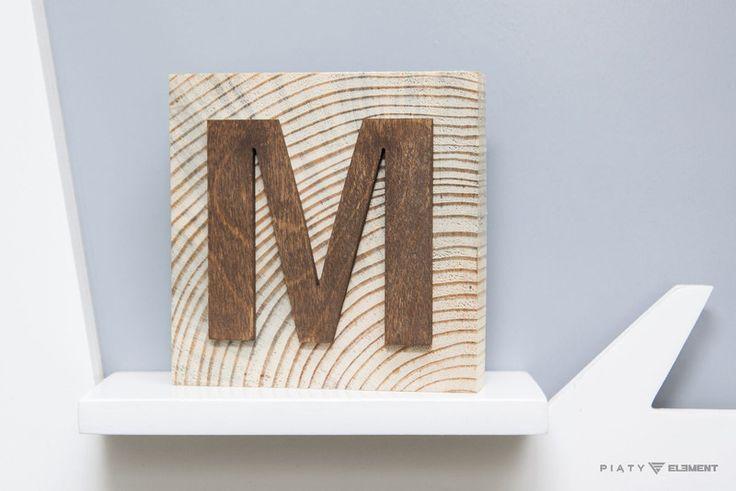 Litera drewniana w kwadracie - 5_Element - Litery i napisy
