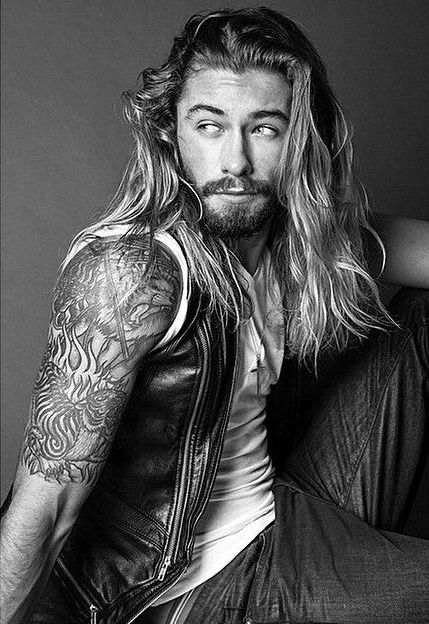 "Ky.....ridiculously good looking mc( vp ) . long blonde hair short beard. Piercing blue eyes. He is never short on womens attentions. His regulars were Tiff and Jules. Twins. But now he has a thing foe ""Lilah""."