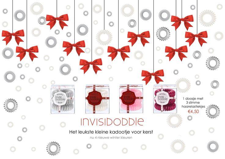 Het leukste kleine kadootje voor kerst! De Invisibobble  Nu in nog meer kleuren. Zo zijn er nu ook de winter kleuren: Foggy nights, Snow pearl, Candy cane, en Winter puch.  Te koop bij Es4Hair  www.es4hair.nl