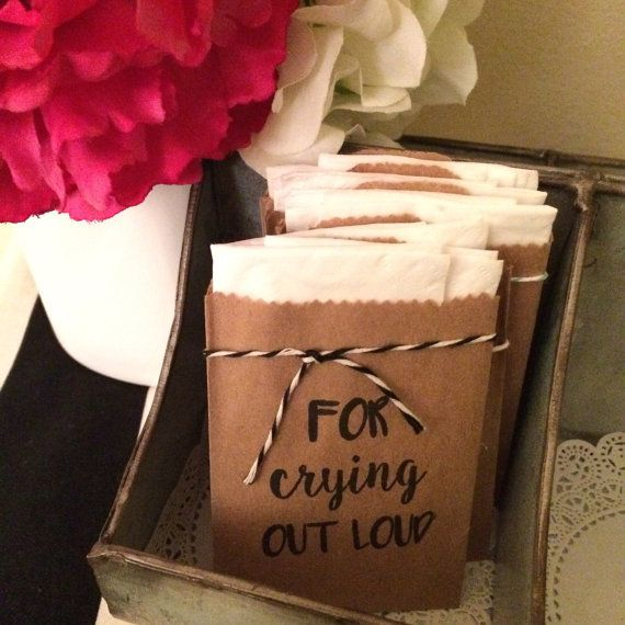 For Crying Out Loud Tissue Packs / Set of 24 by InStyleInSpirations. Wedding Favors. Happy Tears only.