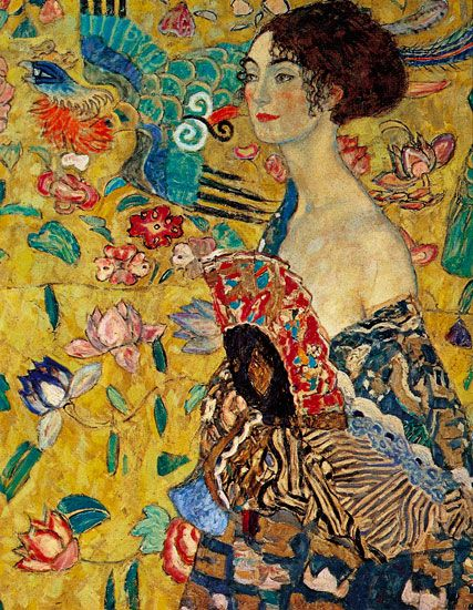 Tableau Aquarelle Moderne Lady With A Fan, Gustav Klimt. | Klimt+artwork En 2019