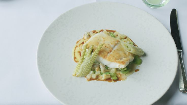 Roast fillet of turbot English peas, jersey royal potatoes and cockles recipe from professional chef Gavin Edney