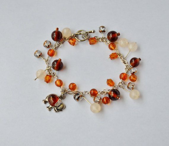 Elephant Charm Sparkling Amber Bracelet