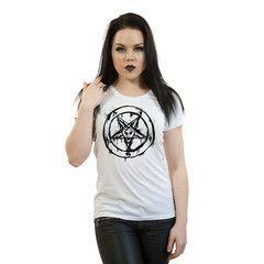 Black Pentagram Ladies T-Shirt