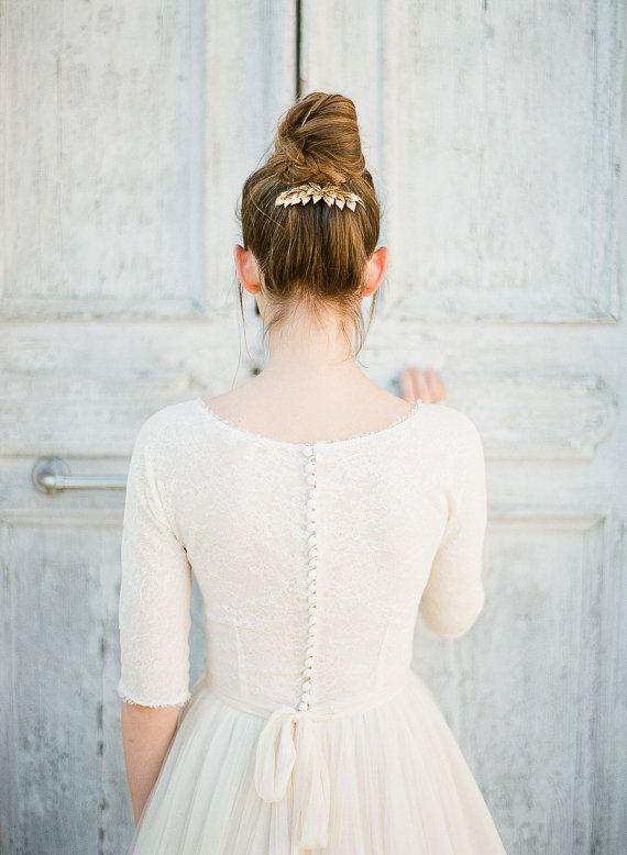 "Bridal headpiece-gold headpiece-gold leaf headpiece-gold hair accessory-bridal accessory- TWR ""BIRCH"" Bridal comb"