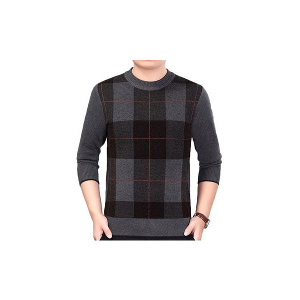 Plaid Pattern Fall Winter Warm Knitted Casual Sweater ($27) ❤ liked on Polyvore featuring men's fashion, men's clothing, men's sweaters, coffee, men sweaters & cardigans, mens thick sweaters, mens shawl collar cardigan sweater, mens cardigan sweaters, mens long sleeve polo sweater and mens collared sweater