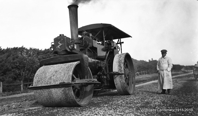 Point Nepean Road roller at work near Carrum (now Nepean Highway)  1914. VicRoads Centenary 1913-2013.
