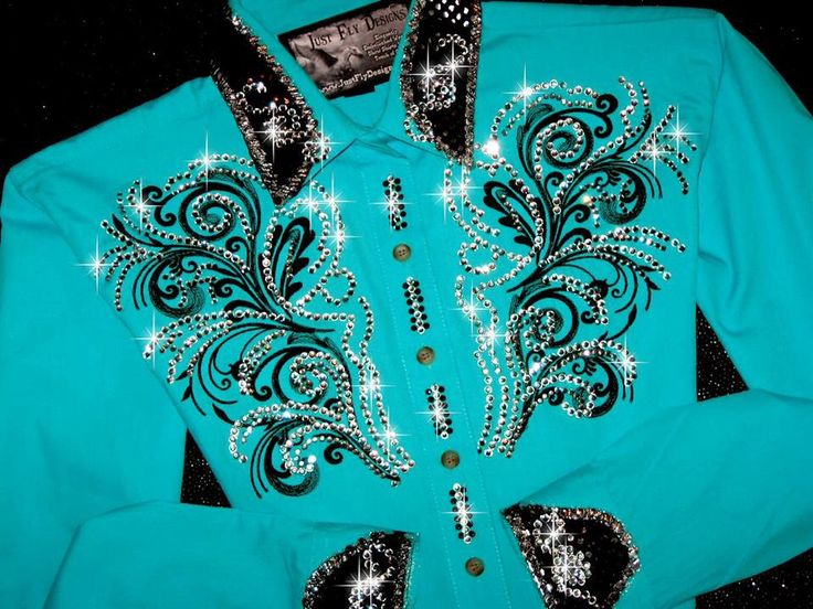 Just Fly Designs Bling Turquoise and Chocolate Rodeo Queen Rodeo Shirt