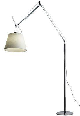Lampadaire Tolomeo Mega LED / H 148 à 327 cm Abat-jour Ø 36 cm / Ecru - Artemide