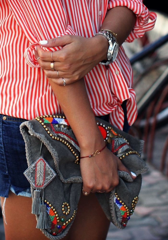 red & white striped shirt + dark denim shorts + boho bag + silver watch