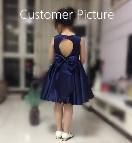 Girly Shop's Navy Blue Elegant Emerald Green Rhinestone Applique Round Neckline Sleeveless Knee Length Large Bow Back Baby Infant Toddler Little & Big Girl Back Hole Dress