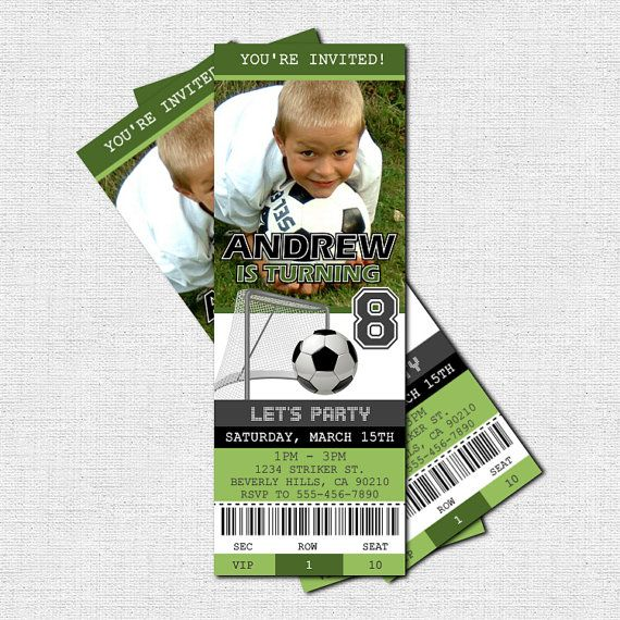 SOCCER TICKET INVITATIONS Birthday Party  print your by nowanorris, $9.00
