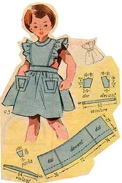 robes tabliers pour les petites 50s tuto patron 18mois - Patron Tablier Cuisine 2 Ans