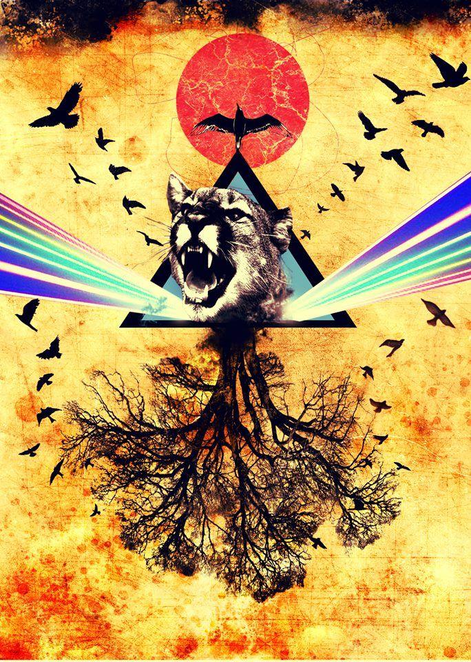 Wild Freedom Triangle. Tiger roars: #roar . It's different from #katyperry 'Roar' #song. #tree #sungoesdown #design