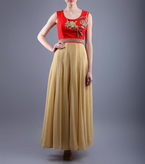 Red & Beige Embroidered Raw Silk & Net Dress  http://www.shadesandyou.com/product/red-beige-embroidered-raw-silk-net-dress/  #DressLehenga #BridalLehengaCholi #LehengaCholi #BridalLehengas #DesignerLehengas