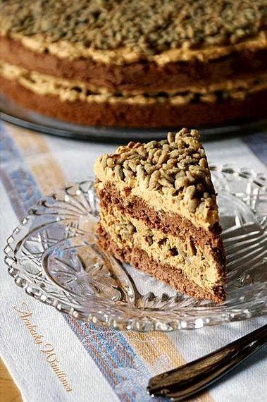 krówkowe ciasto ze słonecznikiem