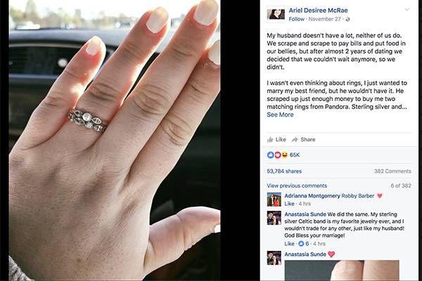 Facebook/Ariel Desiree McRaeテネシー州に住む22歳のアリエル・ディジリーがFacebookに投稿した文章が広く反響を呼んでいる。アリエルはコミュニティサービスの事務所に勤め、恋人のクインは中古車ディーラーで働いている。生活に余裕はなく、倹約に倹約を重ねる毎日だ。2年間の交際を経て、2人は結婚を決意。「親友と結婚できるだけで幸せだから指輪は要らない」とアリエル