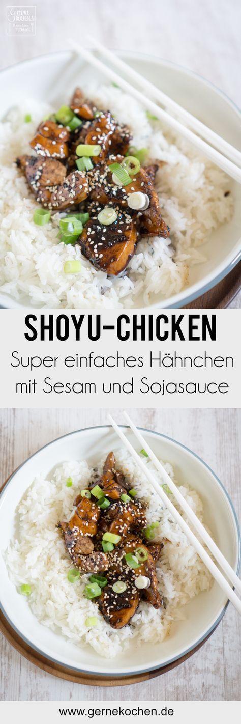 Shoyu-Chicken ist ein wunderbar einfaches Gericht, welches sich super nach Feierabend oder bei wenig Zeit zubereiten lässt. Ganz wenig Zutaten wie Hähnchen, Sesam, Sojasauce und Ingwer machen es zu einem tollen Essen. #Hähnchen #chicken #sesam #sesame #ingwer #ginger #sojausace #soysauce