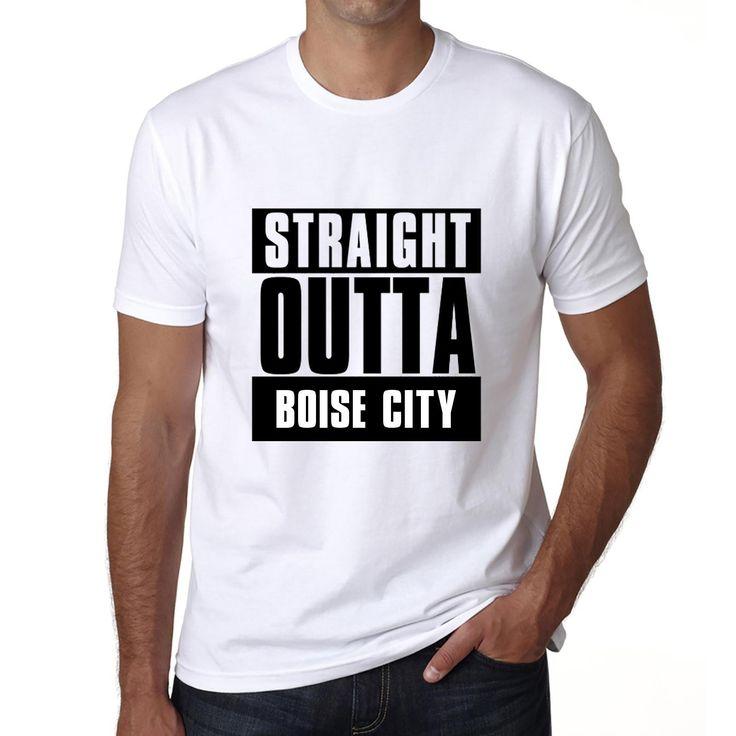 Straight Outta Boise city, Men's Short Sleeve Rounded Neck T-shirt