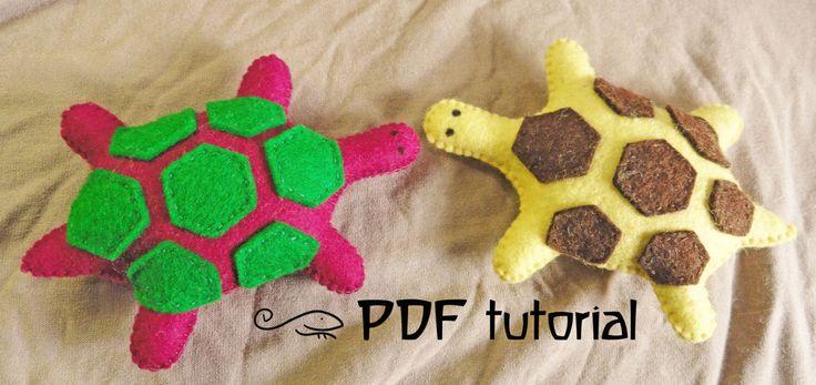 Turtle, tortoise, felt turtle, felt turtle pattern, tortoise pattern, felt turtle making pattern, felt animal, felt animal tutorial, PDF by Leguanworld on Etsy https://www.etsy.com/listing/152161715/turtle-tortoise-felt-turtle-felt-turtle