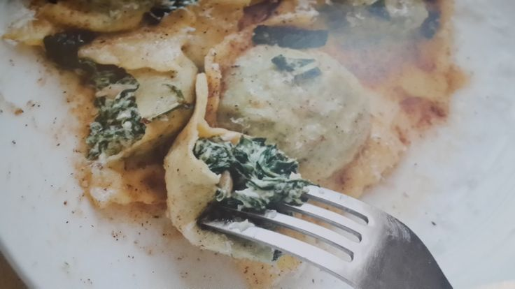 Spinach, ricotta and pine nut ravioli with sage butter  MAKING RAVIOLI IS TRULY SATISFYING and fun – especially if you get others involved. In Italy, this typically happens, with the matriarch in charge of quality control. You should have enough filling here for about 20 ravioli. Any pasta dough that isn't used can be re-rolled into thin sheets and cut into thick strips to make pappardelle or tagliatelle