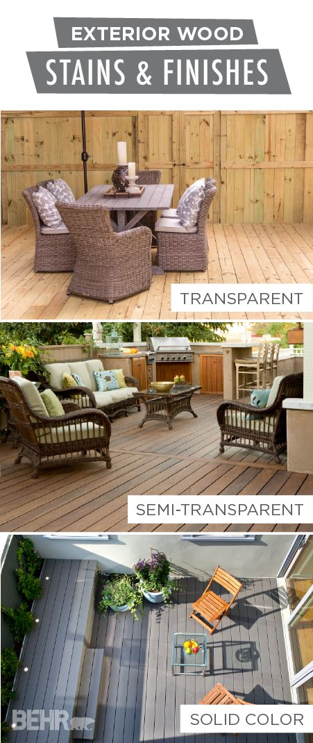 A new stain can do wonders for the look of your outdoor deck, porch, or patio. Explore BEHR's range of exterior wood stains and finishes to find the perfect look for your home. A transparent stain will maintain the gorgeous color of your natural wooden deck while protecting it from weathering and everyday damage. You could even use a semi-transparent or  solid color stain to introduce a pop of color into your backyard.