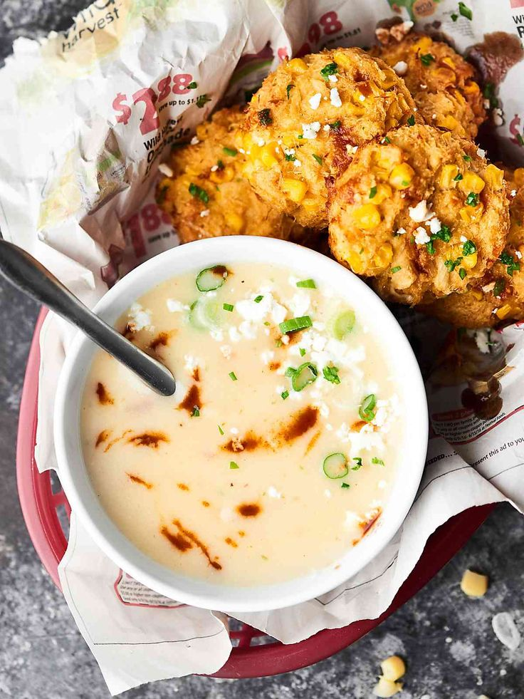 #ad Baked Corn Crab Cakes paired with a Three Cheese Chipotle Potato Soup is the perfect cozy, winter dinner. 10 minutes of prep and you've got yourself a restaurant quality meal! showmetheyummy.com Made in partnership w/ @idahoanfoods