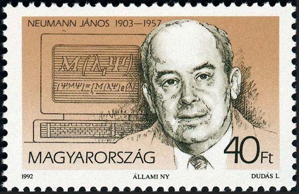 ハンガリー ヤーノシュノイマン 1992年8月3日 ジョン・フォン・ノイマン(1903から1957)は、ハンガリー系アメリカ人の純粋であったと数学者、物理学者、およびコンピュータ科学者を適用します。彼は数学、物理学、経済学、コンピューティング、および統計などの分野の数に大きな貢献をしました。彼は、命令とデータの両方の配列を格納するためにデジタルコンピュータのメモリを使用することに貢献しました。