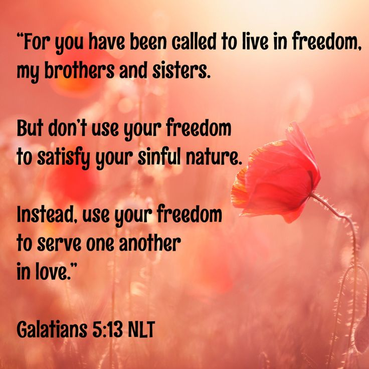 """""""For you have been called to live in freedom, my brothers and sisters. But don't use your freedom to satisfy your sinful nature. Instead, use your freedom to serve one another in love."""" Galatians 5:13 NLT"""