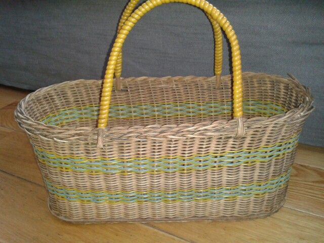 Vintage wicker and plastic yellow handled basket