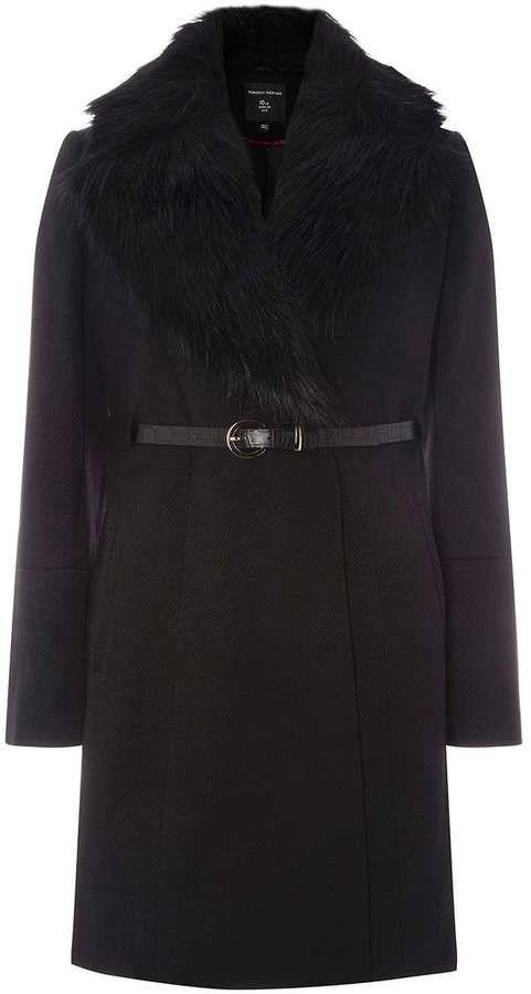 Black Belted Faux Fur Collar Coat