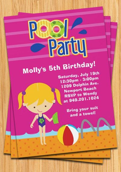 Kids Pool Party Birthday Invitation by eventfulcards on Etsy, $15.99