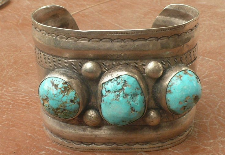 Navajo Wide Bracelet large Morenci cabs hand forged coin silver ingot