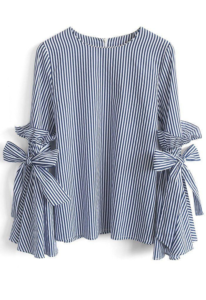 Stripes Charisma Top with Bell Sleeves (Item Number: T20170210001)  chicwish.com