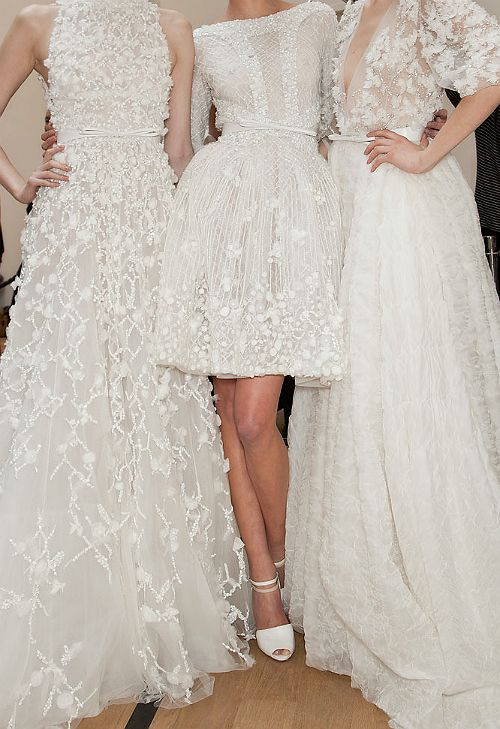 3 white dresses: Bridesmaids...as long as they are white and go together...