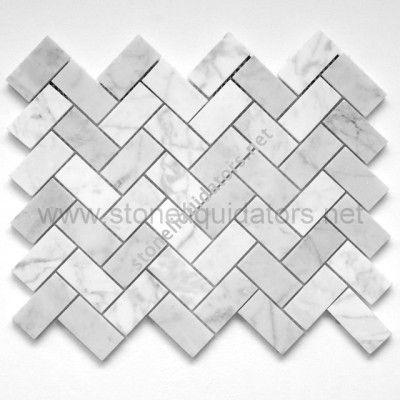 """NEED THIS IN MY KITCHEN! 1"""" x 2""""  Bianco White Carrara Marble Herringbone Mosaic  Polished"""
