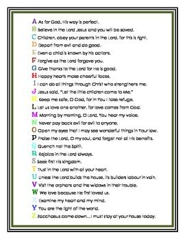 Memory Work: Bible Verses for Primary Students. A memory verse to go along with each letter of the alphabet.