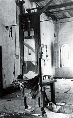 Damaged guillotine in the death house of the Plotzensee prison where thousands were murdered by the Nazis.