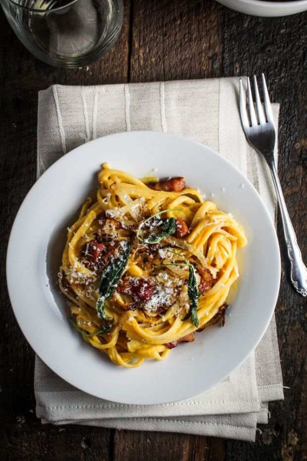 Butternut Squash Carbonara with Caramelized Onions and Fried Sage {Katie at the Kitchen Door}: