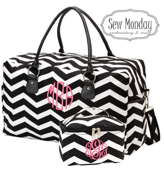 Personalized Black Chevron Getaway Weekender Traveling Bag Set with Cosmetic Bag or Bridal party gift, Bridesmaids gift