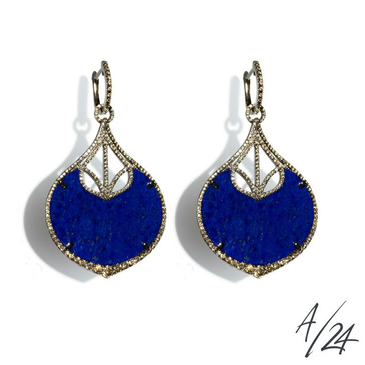 Annoushka Cloud Nine Nocturnal Earrings ~ Created in 18ct white gold and 16.99cts of lapis lazuli, and hand set in 1.37ct graduated pavé diamond frames, these limited edition Cloud Nine Nocturnal earrings contrast the intense midnight blue of lapis surrounded by the warmth of brown diamonds and finished in black rhodium, radiating the seductive glamour of the night.