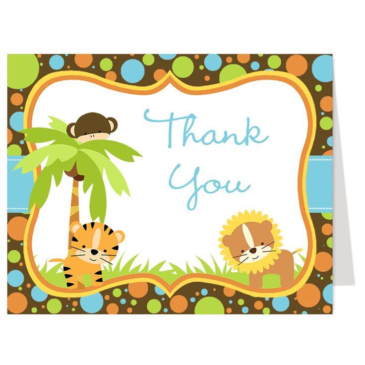 Jungle Babies Blue Thank You Card