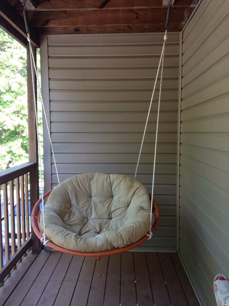 Repurposed papasan for our deck with old trampoline springs at the top.