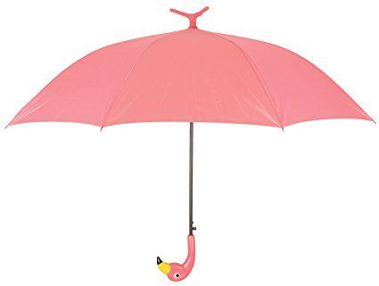 Esschert Design Regenschirm Flamingo mit Rüschen aus Pongee Seide, ABS und Eisen, 98,0 x 98,0 x 79,0 cm