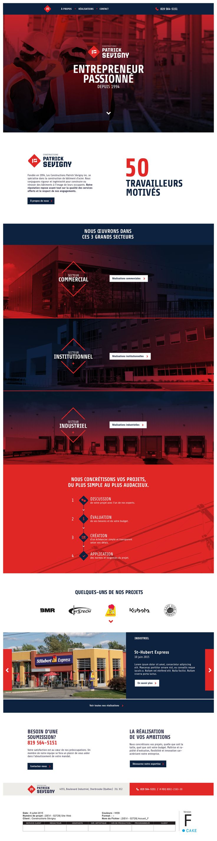 http://constructionspatricksevigny.com Conception du site Web. Design | Website | Layout