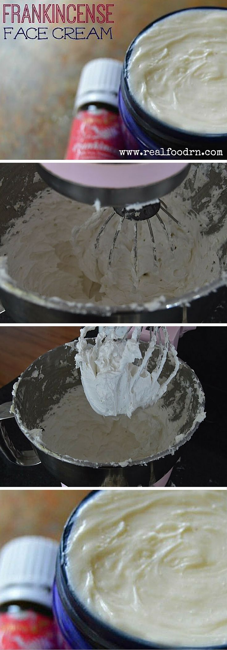 Frankincense Face Cream. Improve the appearance of your skin and make it silky soft. Super easy to make in your own kitchen! I have had so many people tell me that this is the best face cream they have ever used! realfoodrn.com #frankincense #diyfacecream